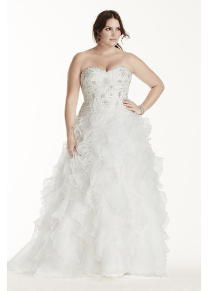 Jewel organza plus size wedding dress with ruffles for David bridal rental wedding dresses
