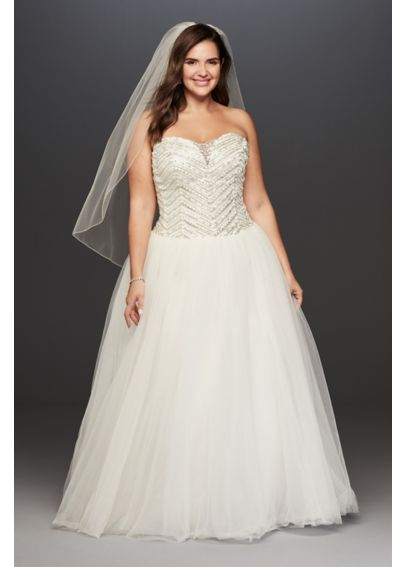 Jewel Tulle Plus Size Wedding Dress with Crystals 9WG3754