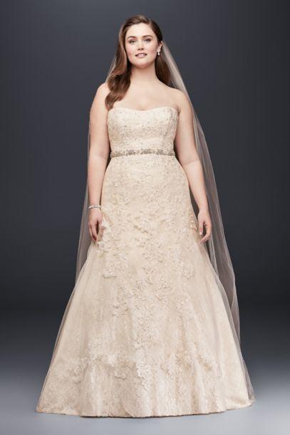 jewel lace a-line beaded plus size wedding dress | david's bridal