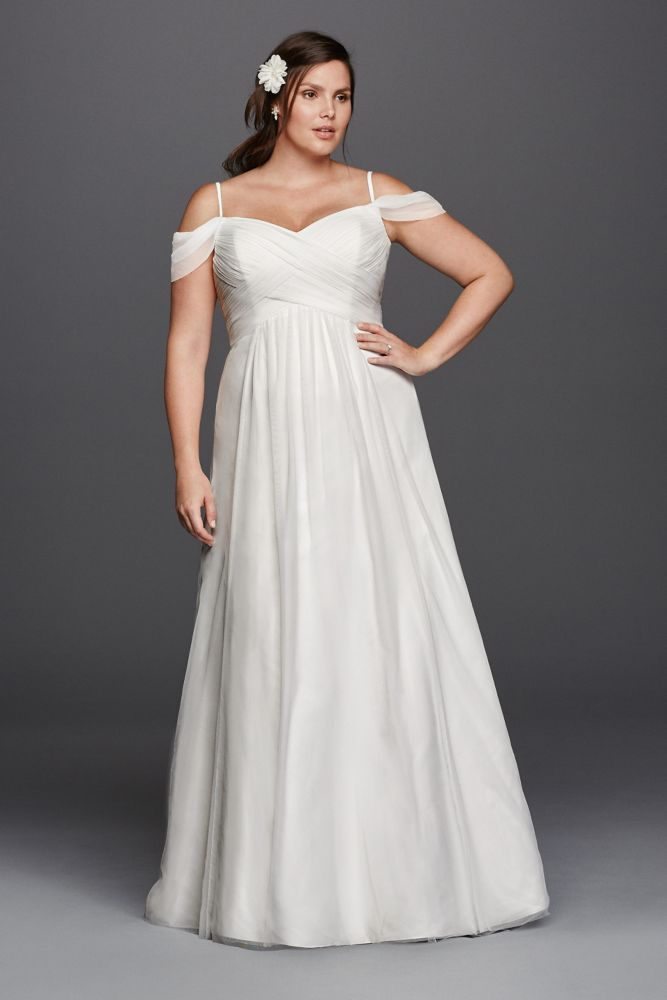 a line plus size wedding dress with swag sleeves style