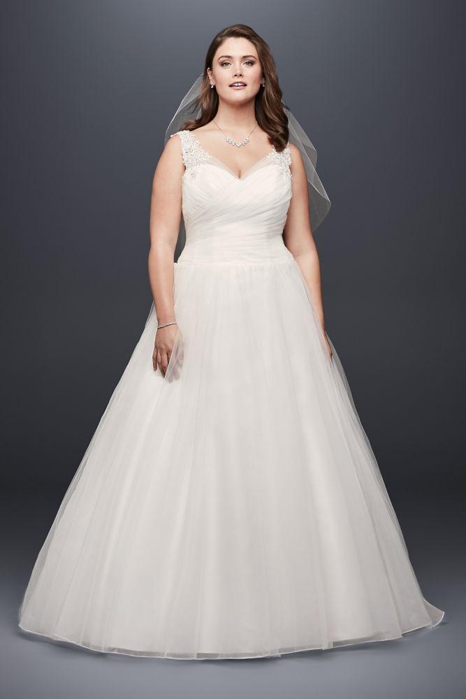 Tulle plus size wedding dress with illusion straps style for Plus size illusion wedding dress