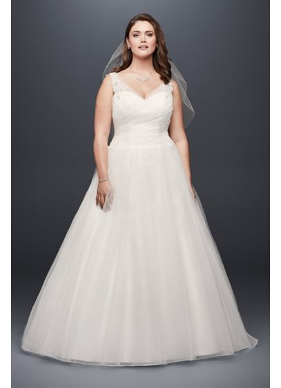 Tulle plus size wedding dress with illusion straps davids bridal long ballgown simple wedding dress davids bridal collection junglespirit