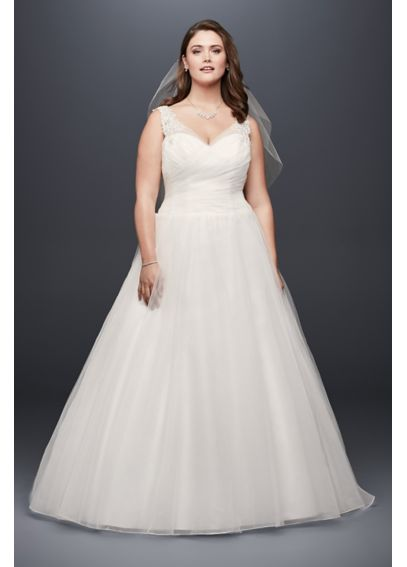 Tulle plus size wedding dress with illusion straps for Plus size wedding dresses with straps