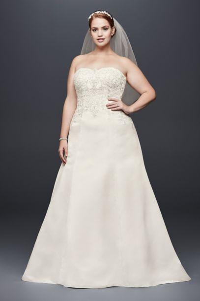 Satin Strapless A-line Plus Size Wedding Dress | David's Bridal
