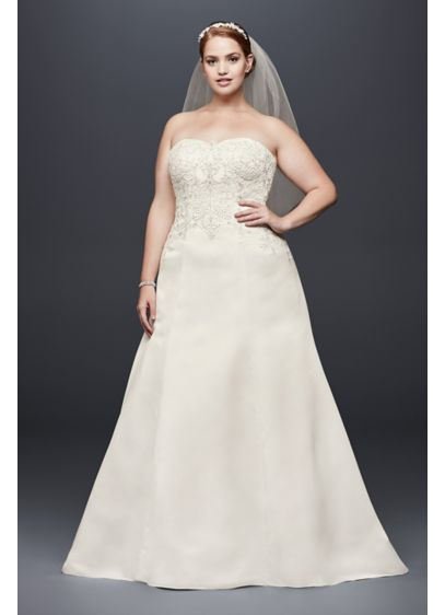 Satin strapless a line plus size wedding dress david 39 s for Plus size silk wedding dresses