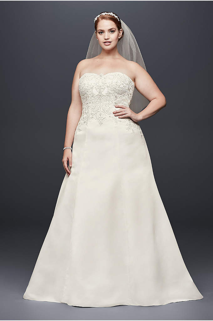 Satin Strapless A-line Plus Size Wedding Dress - Beautiful detailing meets an ultra-flattering silhouette in this