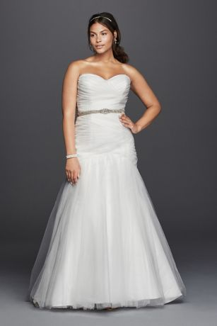 Strapless mermaid tulle plus size wedding dress davids bridal save junglespirit Image collections