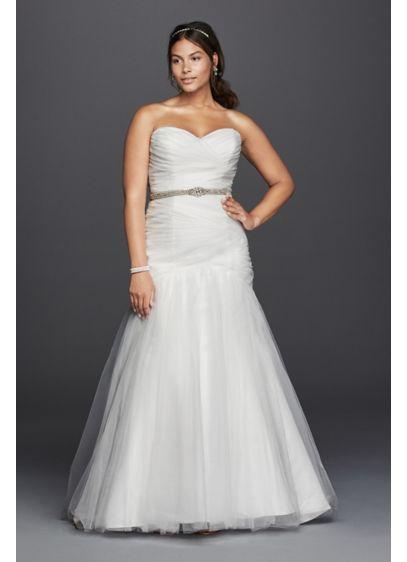 Strapless mermaid tulle plus size wedding dress david 39 s David s bridal strapless wedding dress