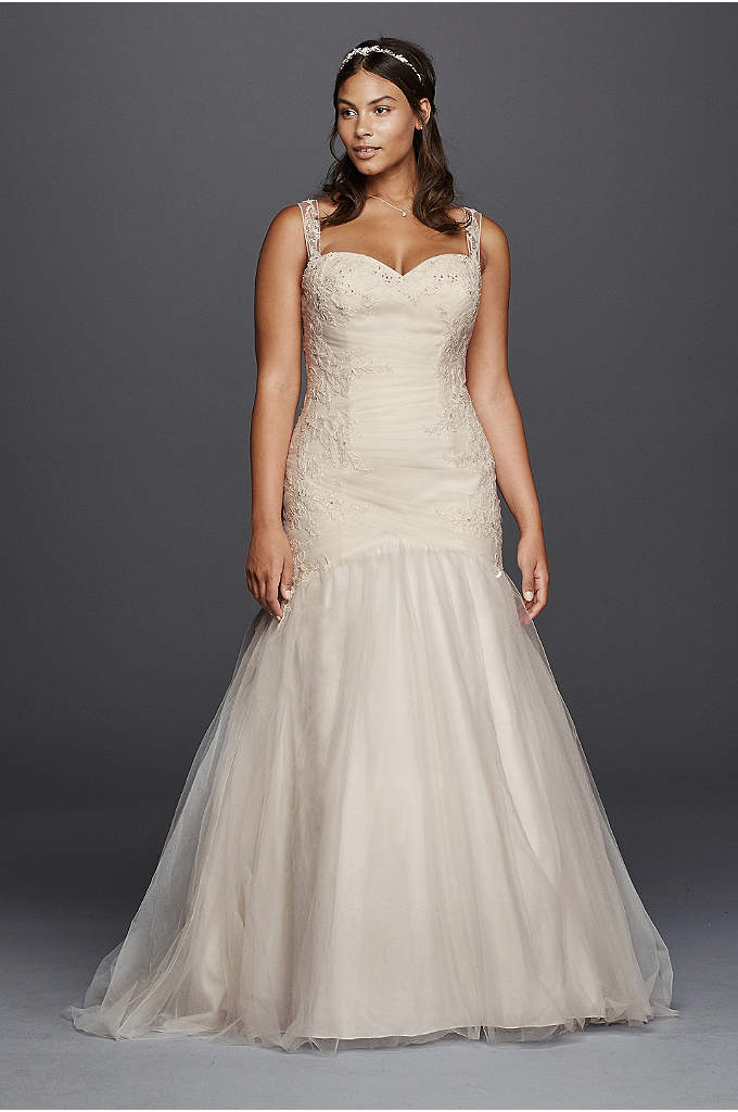 Tank tulle trumpet wedding dress with lace detail davids for Tulle trumpet wedding dress