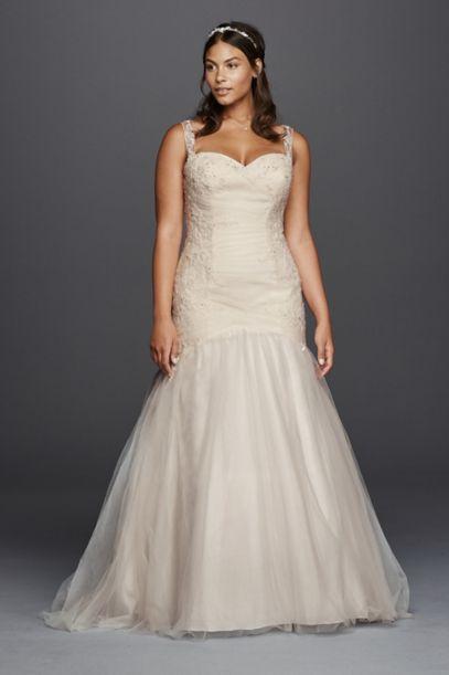 plus size tulle trumpet wedding dress | david's bridal