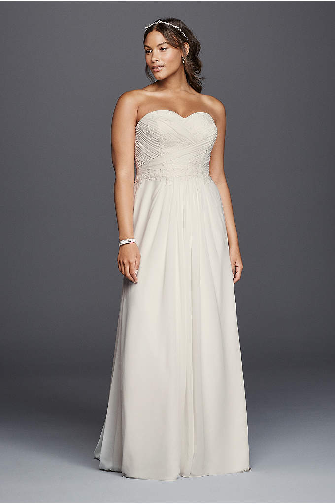 As is plus size tank tulle wedding dress davids bridal for Plus size sheath wedding dress