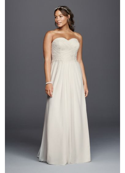Strapless chiffon sheath plus size wedding dress davids for Davids bridal beach wedding dresses