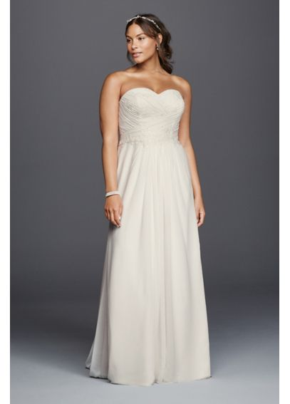 Strapless chiffon sheath plus size wedding dress davids for Plus size sheath wedding dress