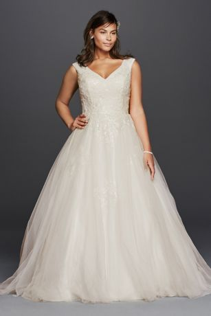 Plus Size Tank Tulle Wedding Dress with Lace Davids Bridal