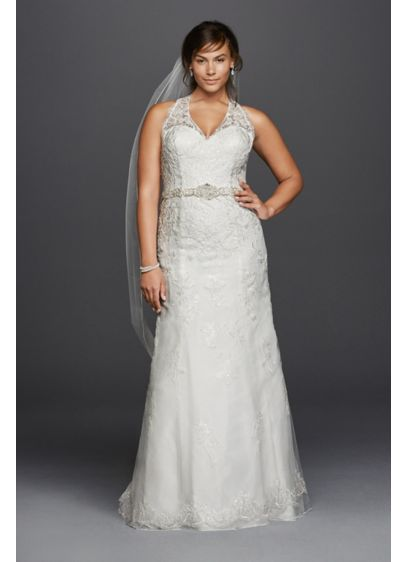 Jewel lace plus size halter wedding dress davids bridal for How to start a wedding dress shop