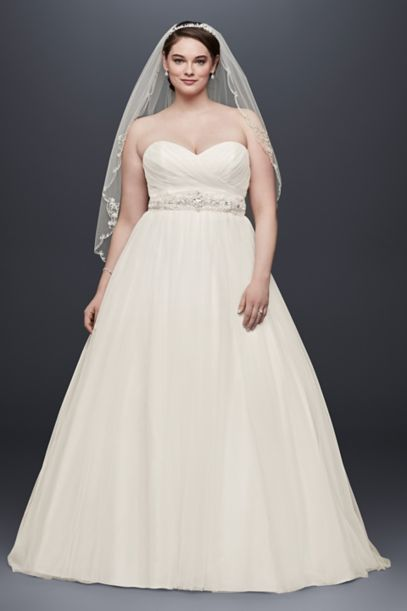 Plus Size Strapless Sweetheart Tulle Wedding Dress | David's Bridal