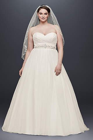 Vestido de Novia Strapless de Tul y Escote de Corazón