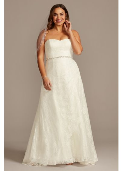 Allover lace plus size a line wedding dress davids bridal for Lace wedding dress davids bridal
