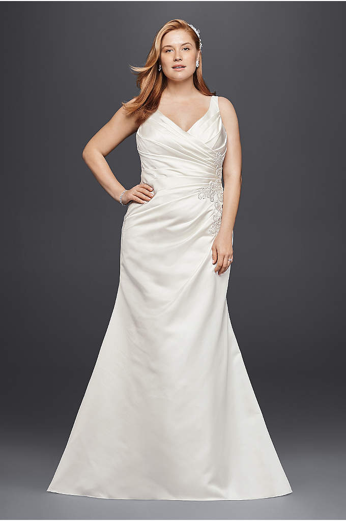 Satin and Lace Plus Size Mermaid Wedding Dress - Silky satin pleating adorns the bodice of this