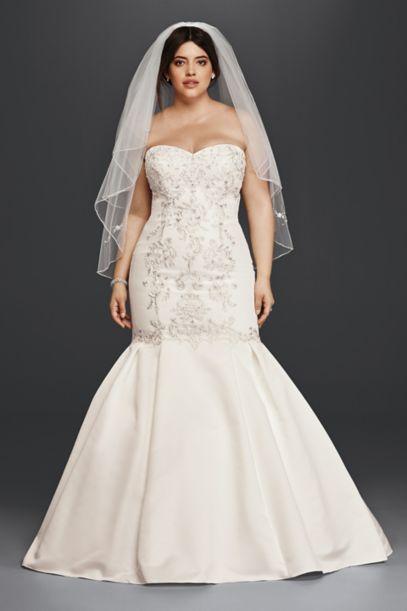 Lace and Satin Plus Size Mermaid Wedding Dress - Davids Bridal