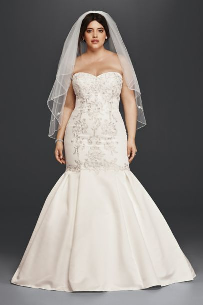 Lace and Satin Plus Size Mermaid Wedding Dress | David's Bridal