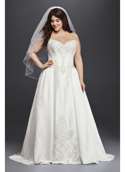 Strapless satin plus size ball gown wedding dress david for Plus size silk wedding dresses