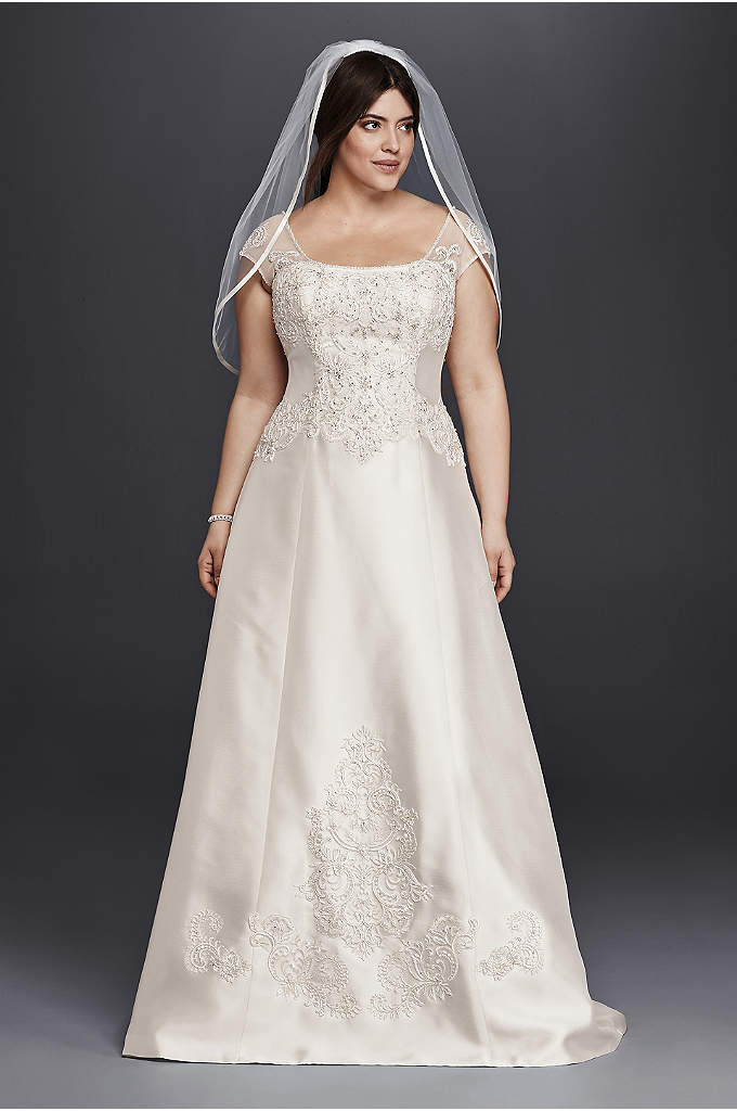 Cap Sleeve Mikado A-Line Plus Size Wedding Dress - Rich mikado gives this plus size A-line wedding
