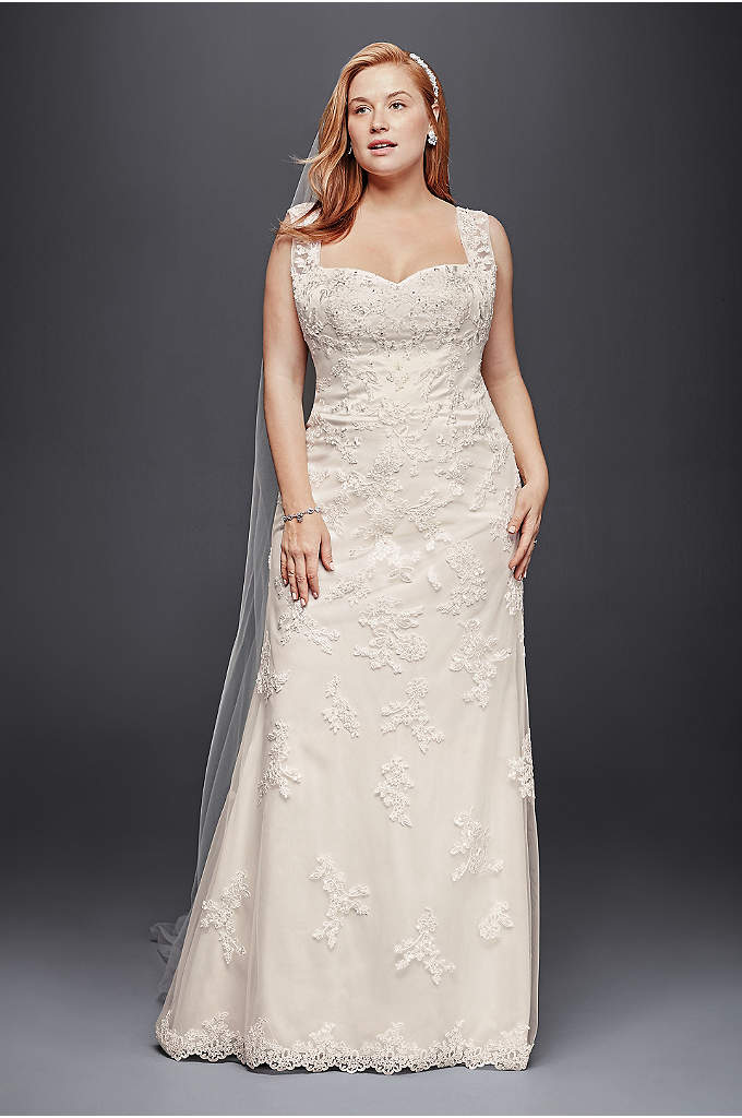 Tulle plus size wedding dress with illusion straps david for Plus size sheath wedding dress