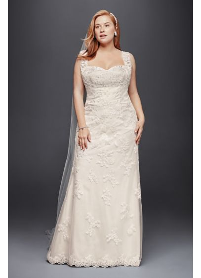 Plus size sheath wedding dress with tank straps david 39 s for Plus size sheath wedding dress