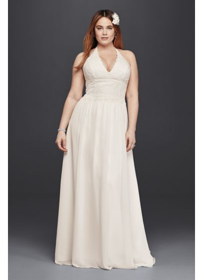 plus size lace sheath halter wedding dress david 39 s bridal