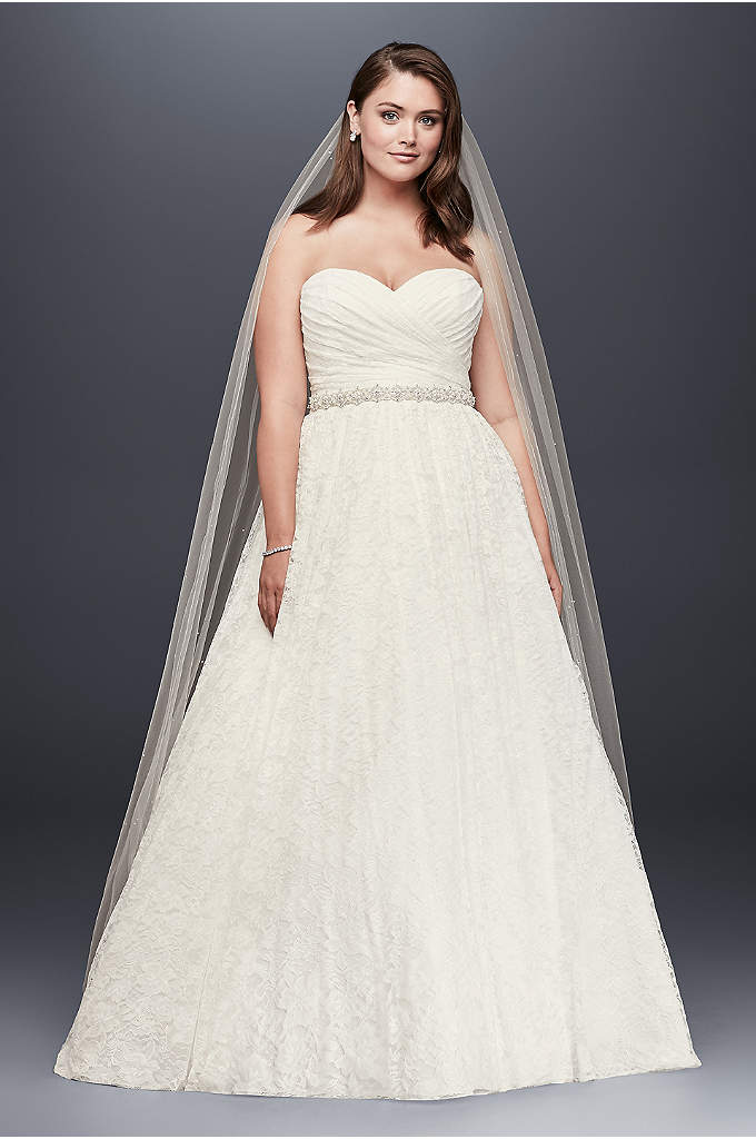 Lace Sweetheart Plus Size Ball Gown Wedding Dress - The strapless, plus size ball gown is a