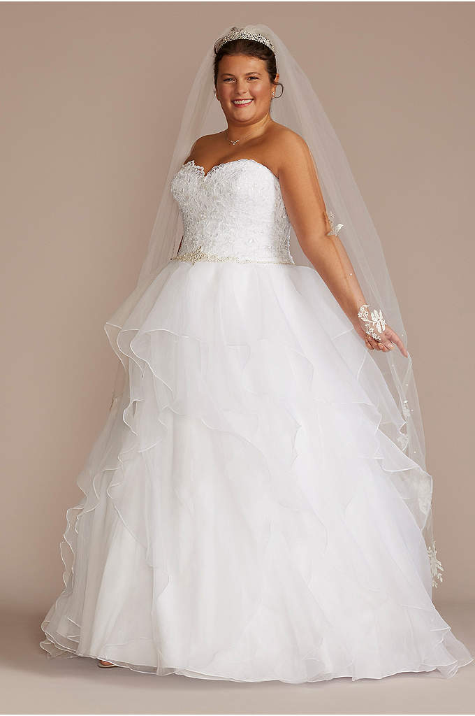 Lace and Organza Plus Size Ball Gown Wedding - With a wedding dress this romantic, only a