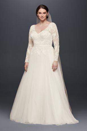 Plus Size Long Sleeve Wedding Dress With Low Back   David\'s Bridal