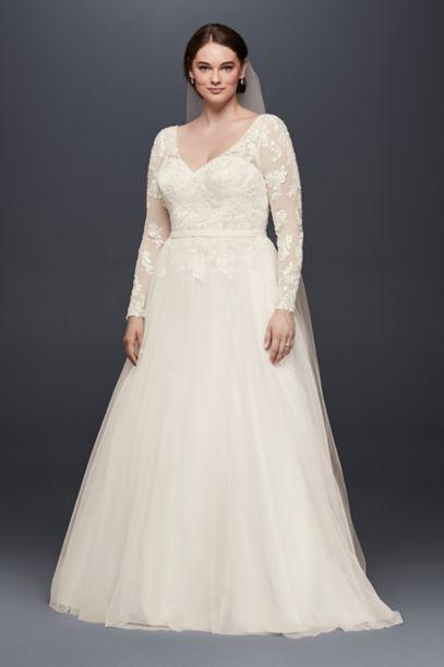 Plus Size Long Sleeve Wedding Dress With Low Back - Davids Bridal