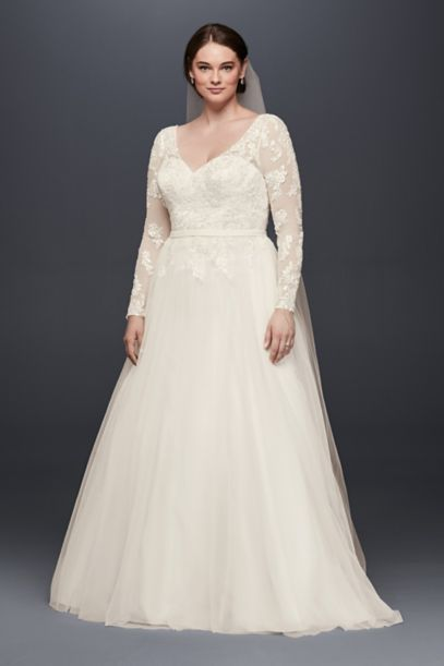 plus size long sleeve wedding dress with low back | david's bridal