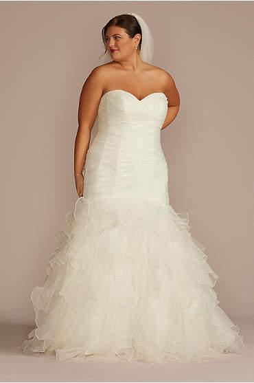 Ruffled Organza Plus Size Mermaid Wedding Dress
