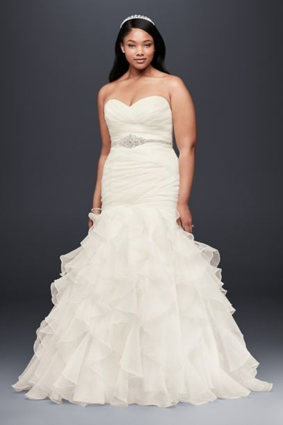 Ruffled Organza Plus Size Mermaid Wedding Dress | David's Bridal