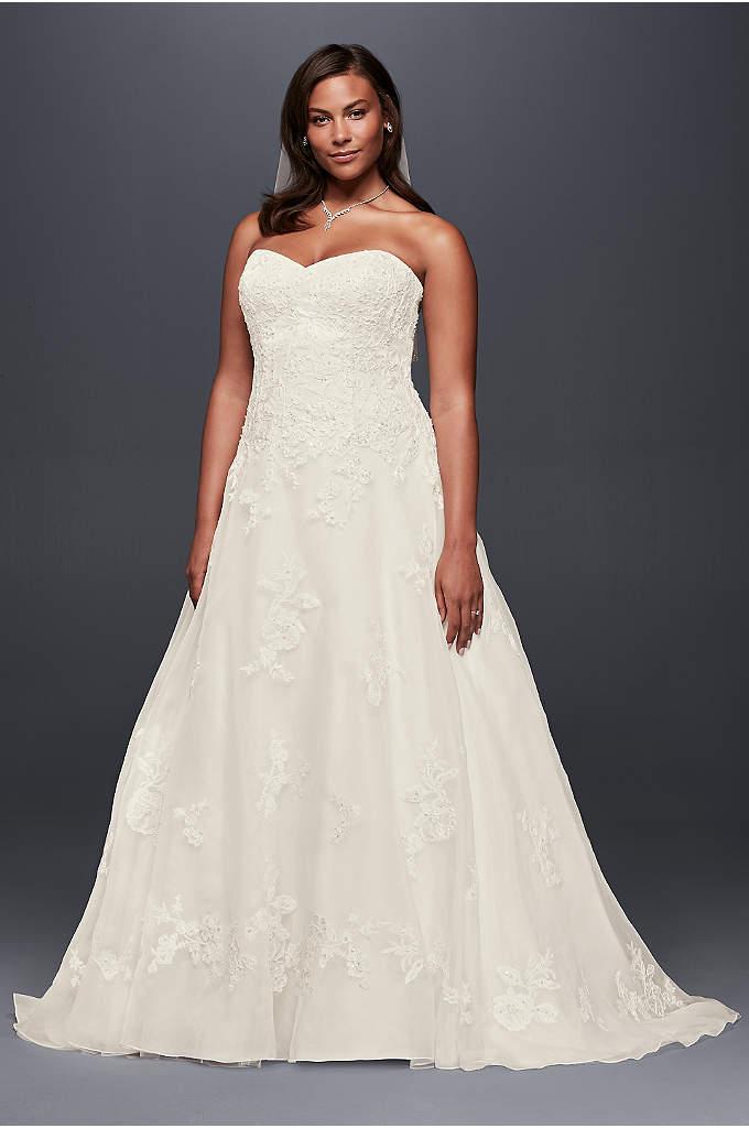 Chiffon a line plus size wedding dress with beads davids for A line plus size wedding dresses