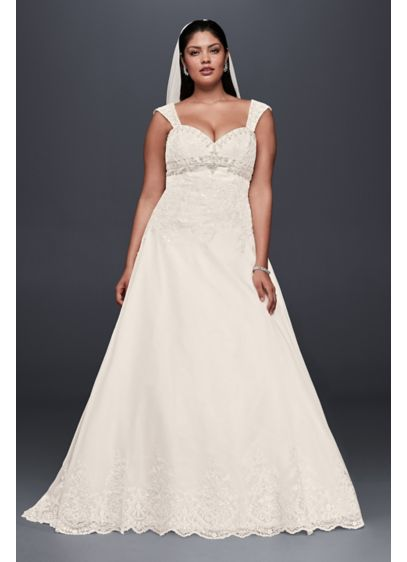 Plus size wedding dress with removable straps davids bridal for Plus size wedding dresses with straps