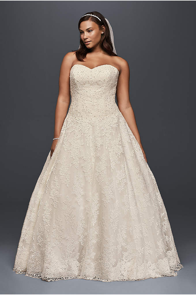 Allover Beaded Plus Size Ball Gown Wedding Dress - This plus size lace ball gown is scattered