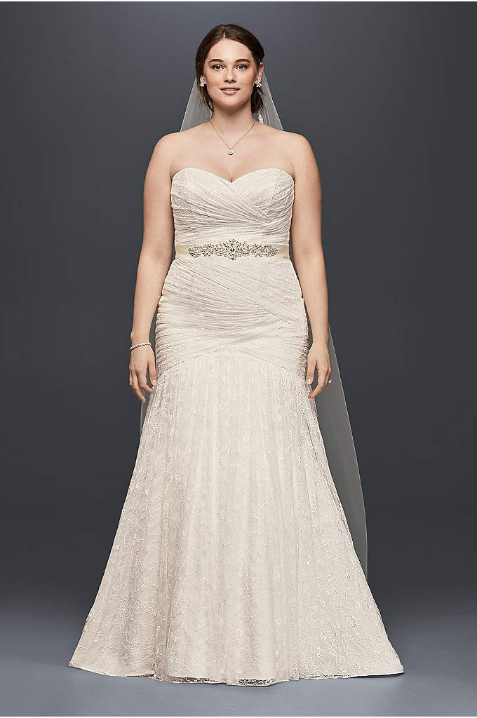Allover Lace Mermaid Plus Size Wedding Dress - This curve-hugging, plus size lace mermaid gown has