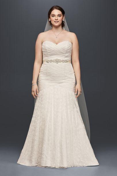 allover lace mermaid plus size wedding dress | david's bridal
