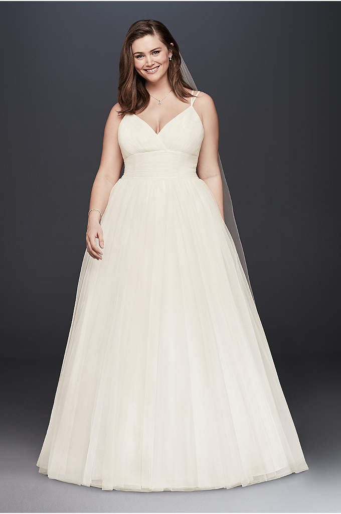 Pleated Tulle Plus Size Ball Gown Wedding Dress - A ball gown for a beach wedding? You'll