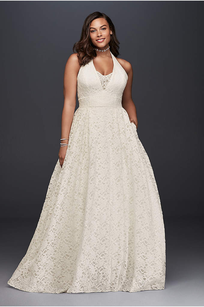 Plunging Lace Halter Plus Size Wedding Dress - This plunging allover lace wedding dress is the