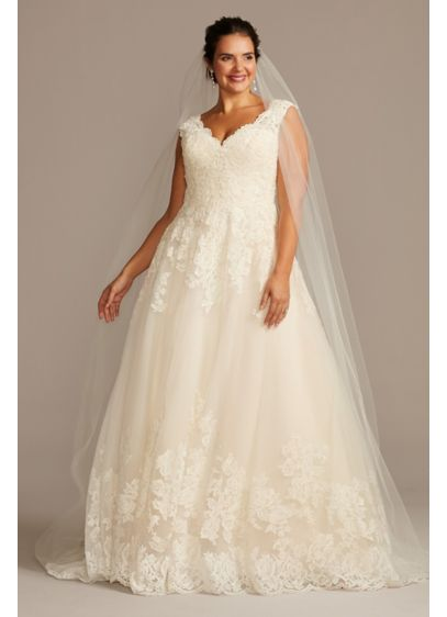 Scalloped lace and tulle plus size wedding dress david 39 s for Plus size after wedding dress
