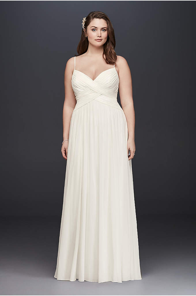 Ruched Bodice Chiffon Plus Size Wedding Dress - A sweet and simple wedding dress, perfect for
