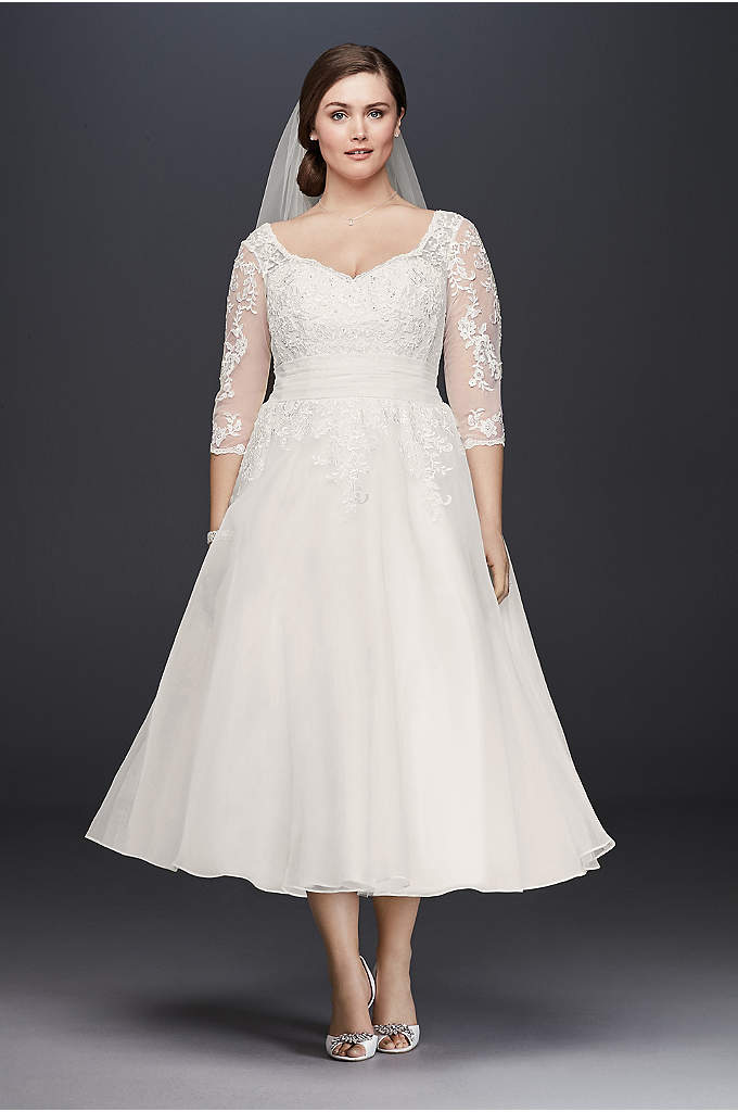 Tulle Plus Size Tea-Length Wedding Dress - Designed exclusively for plus-size figures, this classic tea-length