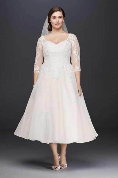 Tulle Plus Size Tea-Length Wedding Dress | David's Bridal