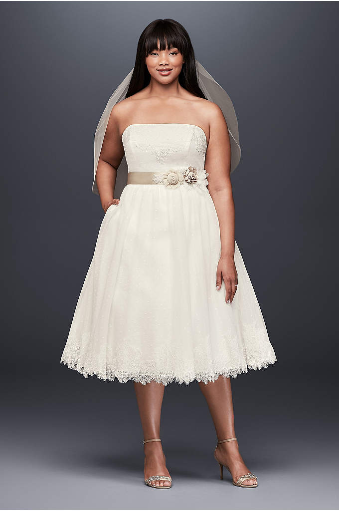 Dotted Tulle Plus Size Tea-Length Wedding Dress - Perfect for simple weddings or pre-wedding events, this