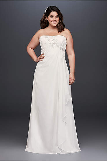 Draped and Beaded Chiffon Plus Size Wedding Dress